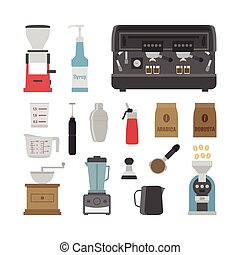barista tool - set of tool icon on white background, flat