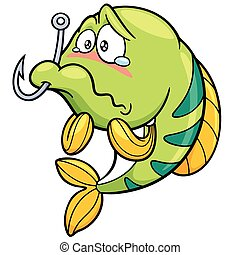 Fish - Vector illustration of fish with Fishing Hook