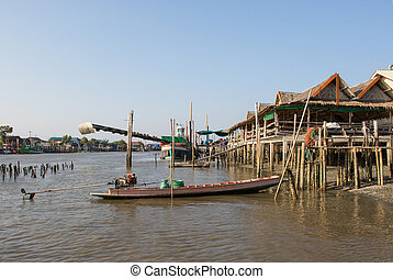 landscape of thailand riverside village in Samutsakorn...