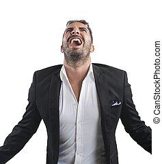 ansioso, homem negócios, gritos,