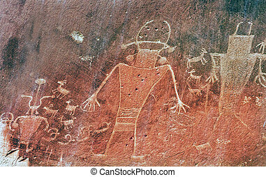 Native American Indian Fremont Petroglyphs Sandstone...