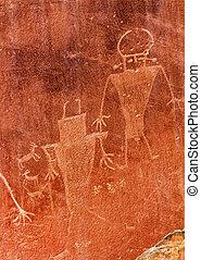 Native American Indian Fremont Petroglyphs Sandstone...