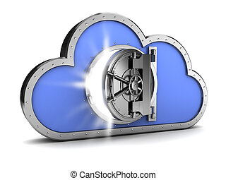 protected cloud storage - abstract 3d illustration of...