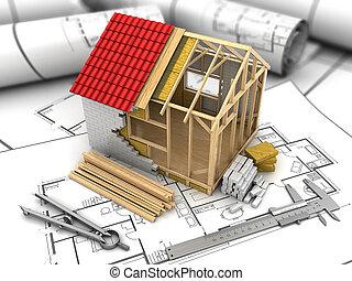 frame house project - 3d illustration of frame house model...