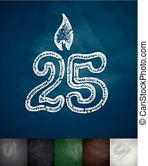 candle twenty five icon Hand drawn vector illustration...