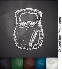 weight icon Hand drawn vector illustration Chalkboard Design...