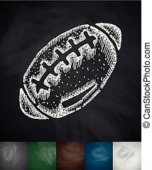 rugby ball icon Hand drawn vector illustration Chalkboard...