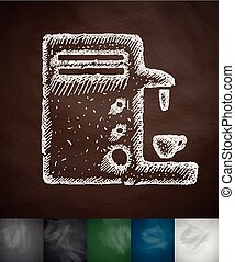 coffee machine icon. Hand drawn vector illustration....