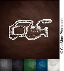 camcorder icon Hand drawn vector illustration Chalkboard...