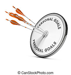 Business Concept, Personnal Goals - Many arrows hitting the...