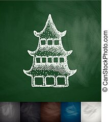 japanese house icon Hand drawn vector illustration...