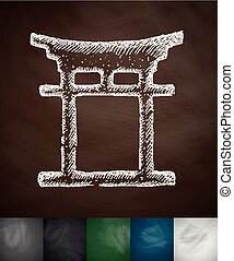japanese arch icon Hand drawn vector illustration Chalkboard...
