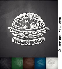 hamburger icon. Hand drawn vector illustration. Chalkboard...