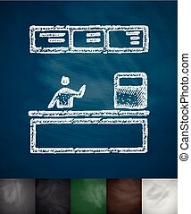 cash desk icon Hand drawn vector illustration Chalkboard...