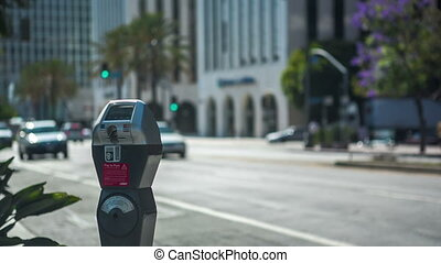 Wilshire Parking Meter - A parking meter and empty spot on a...