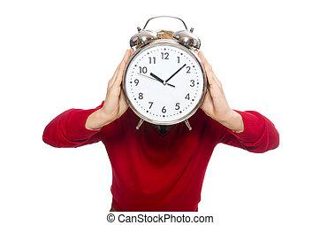 estudante, com, alarme, relógio, isolado, ligado,...