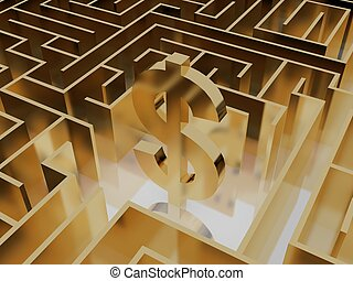 gold dollar sign in the maze