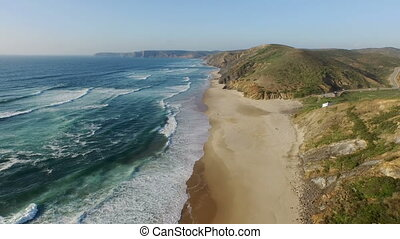 Aerial from the west coast Portugal - Aerial from Praia Vale...