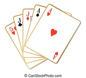 Two Pair - The poker hand two pair over a white background
