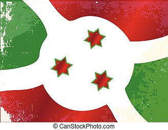 Burundi Flag Grunge - The flag of the African country of...