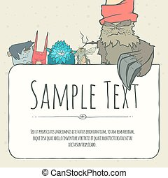 Cute doodle monster greeteng or invitation card with place...