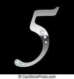 vector silver metallic number five