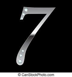 vector silver metallic number seven
