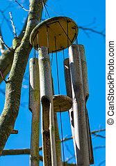 bambú, viento, carillón,
