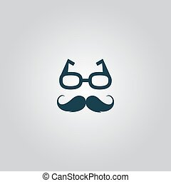 Nerd glasses and mustaches Flat web icon or sign isolated on...