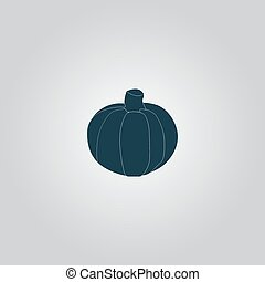 Pumpkin icon - Pumpkin Flat web icon or sign isolated on...