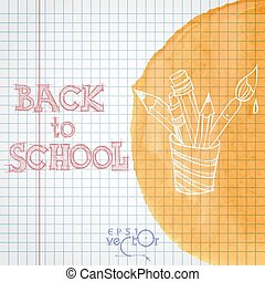 School Background Of School Supplies Vector illustration Eps...