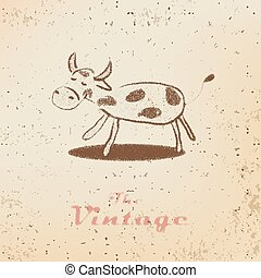 Vintage label with a little calf on faded paper