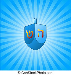 Hanukkah background with dreidel - Blue and white radial...