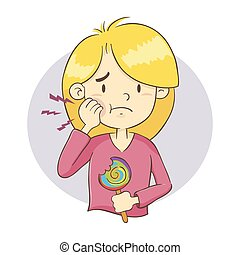 Girl Having a Tooth Ache - Vector illustration of a young...