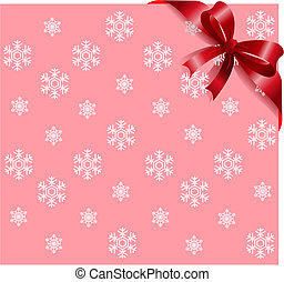 Red ribbon on pink snowflakes background - Pink Snowflakes...
