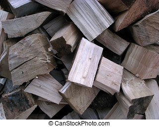 Split poplar tree logs - A pile of newly split Poplar tree...