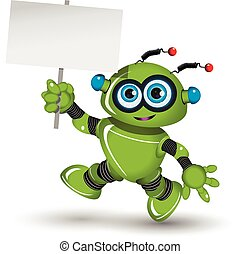 Robot with a white sign - Illustration a green robot and...