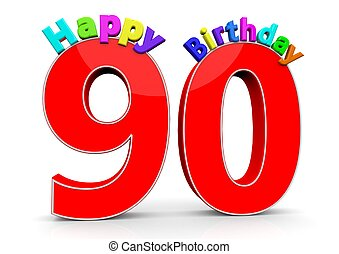The big red number 90 with Happy Birthday in colorful...