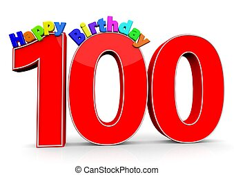 The big red number 100 with Happy Birthday in colorful...