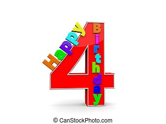 The big red number 4 with Happy Birthday in colorful letters