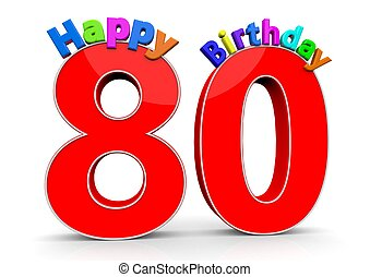The big red number 80 with Happy Birthday in colorful...