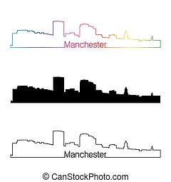 Manchester, NH skyline linear style with rainbow -...