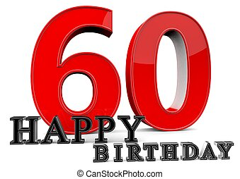 Happy 60th Birthday - Large red 60 with Happy Birthday in...