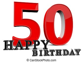 Happy 50th Birthday - Large red 50 with Happy Birthday in...