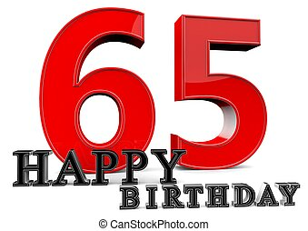 Happy 65th Birthday - Large red 65 with Happy Birthday in...