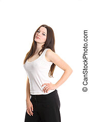 Caucasion fashion model in white shirt