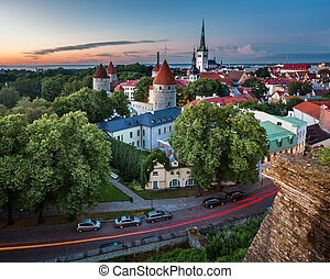 Aerial View of Tallinn Old Town from Toompea Hill in the...