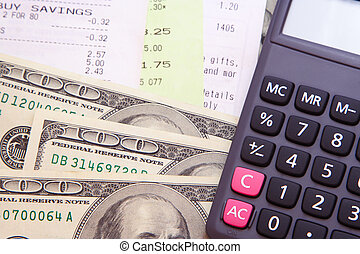 Money, Bills, & Calculator - Some 100 US dollars cash with...