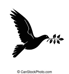 Dove with branch. Symbol of peace.