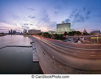 Russian White House and Krasnopresnenskaya Embankment in the...